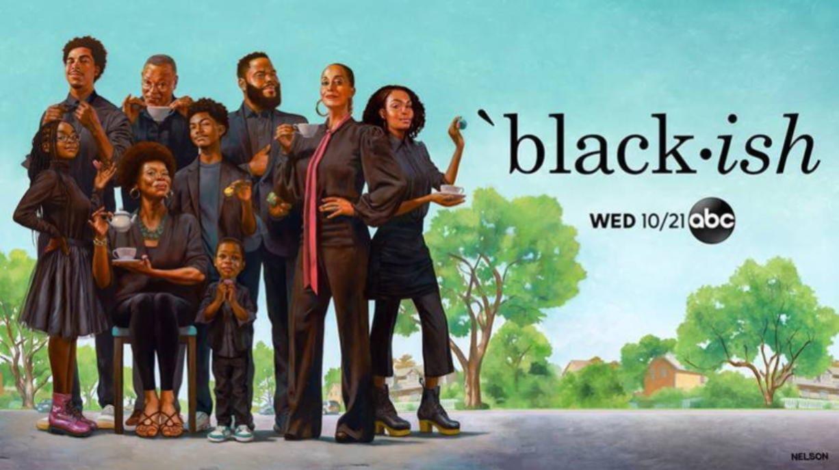 "The cast of ""black-ish."" (Kadir Nelson/ABC shows)"
