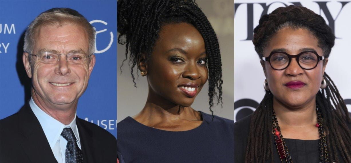 This combination photo shows director Stephen Daldry at the American Museum of Natural History's 2014 Museum Gala in New York on Nov. 20, 2014, actress-playwright Danai Gurira at the nominations for the 26th annual Screen Actors Guild Awards In West Hollywood, Calif., on Dec. 11, 2019, and playwright Lynn Nottage at the 2017 Tony Awards Meet the Nominees press day  in New York on May 3, 2017.  Daldry, Gurira and Nottage are spearheading a night of music and short monologues as part of a theatrically-led national get-out-the-vote effort.