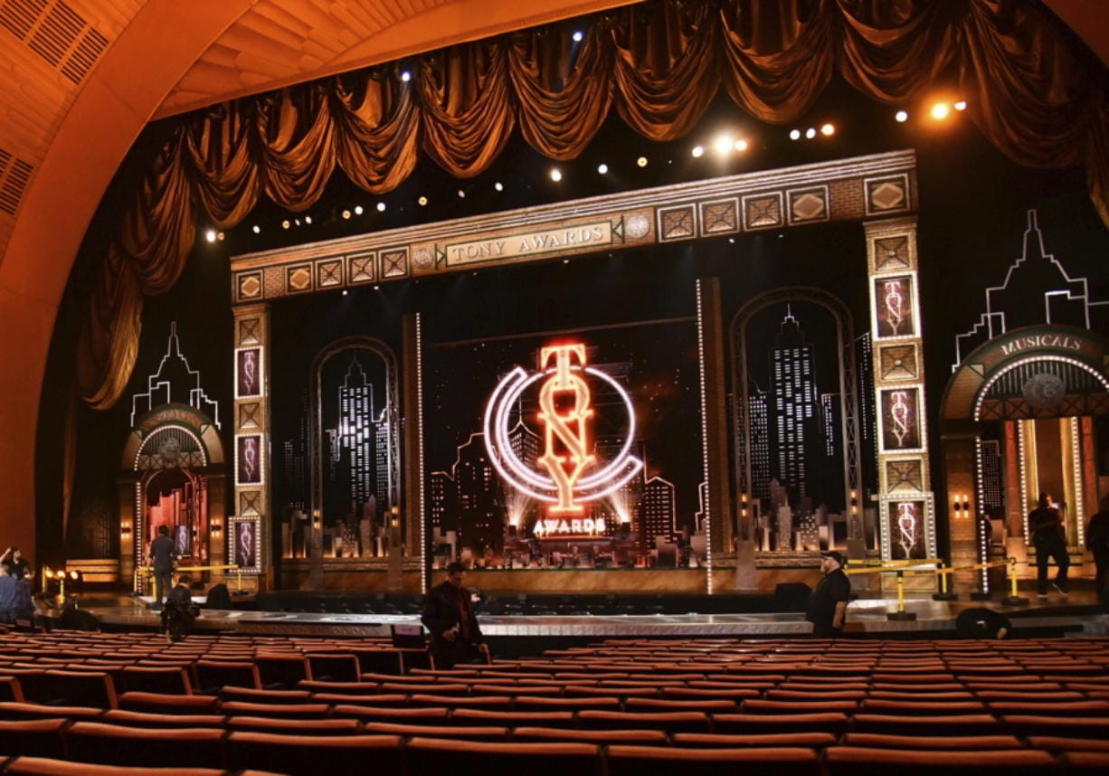 FILE - This JuNe 9, 2019 photo shows a view of the stage prior to the start of the 73rd annual Tony Awards in New York. Nominations for the  American Theatre Wing's 74th Annual Tony Awards will be announced on Thursday, Oct. 15.