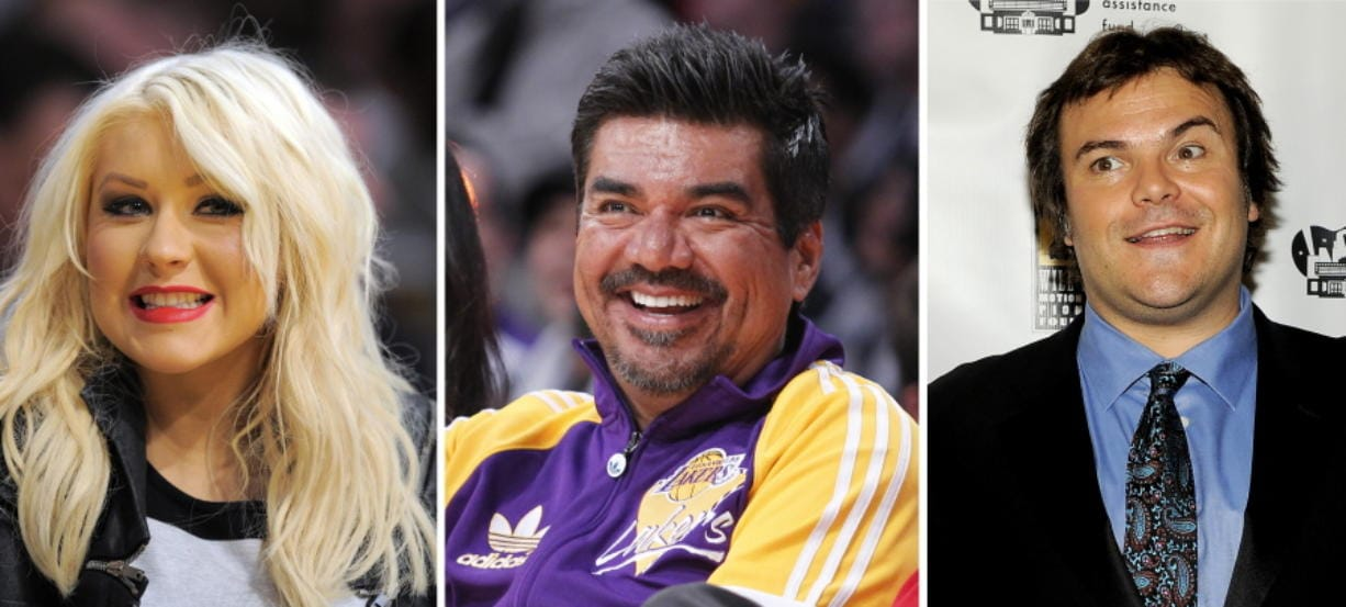 This photo combination shows from left: musician Christina Aguilera in Los Angeles, March 29, 2012, comedian George Lopez in Los Angeles, Dec. 25, 2012, and actor Jack Black in Las Vegas, April 25, 2012. Public relations firms hired by the Department of Health and Human Services vetted the political views of hundreds of celebrities, including Aguilera, Lopez, and Black, for a health education advertising campaign on the coronavirus outbreak. That's according to documents released Thursday by a House committee.