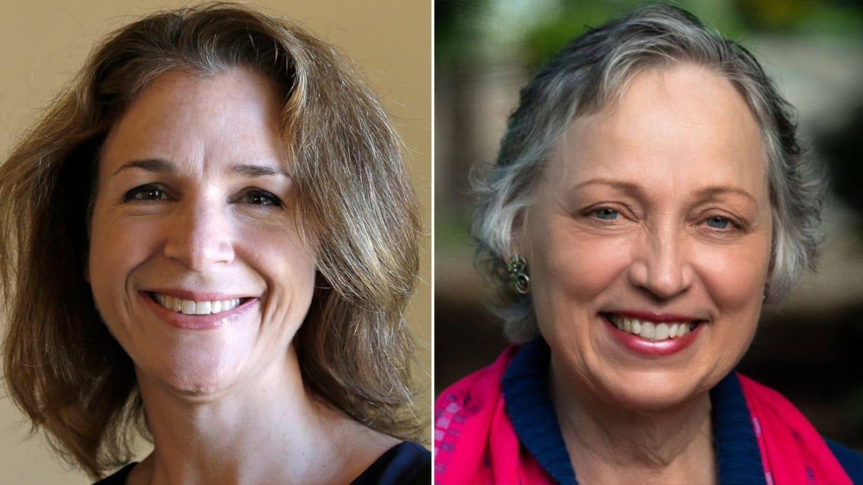 Incumbent Washington Public Lands Commissioner Hilary Franz, left, and challenger Sue Kuehl Pederson.