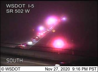 Emergency crews are clearing a multiple-vehicle crash Friday night on Interstate 5 milepost 12 southbound, the second in the span of seven hours that closed multiple lanes each.