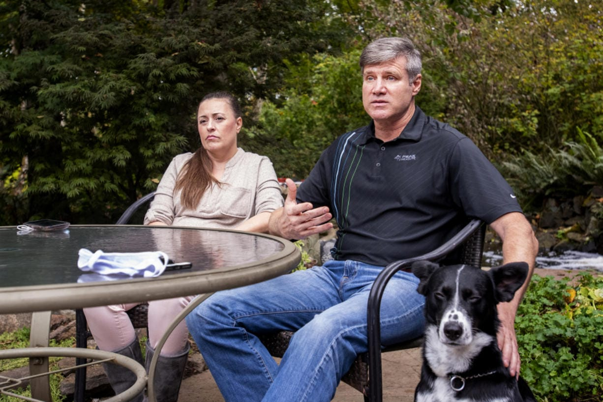 John Bruns talks about how he's handling life since his 13-year-old daughter, London, died by suicide in September. His wife, Heather Wendling, and dog, Molly, accompany him.