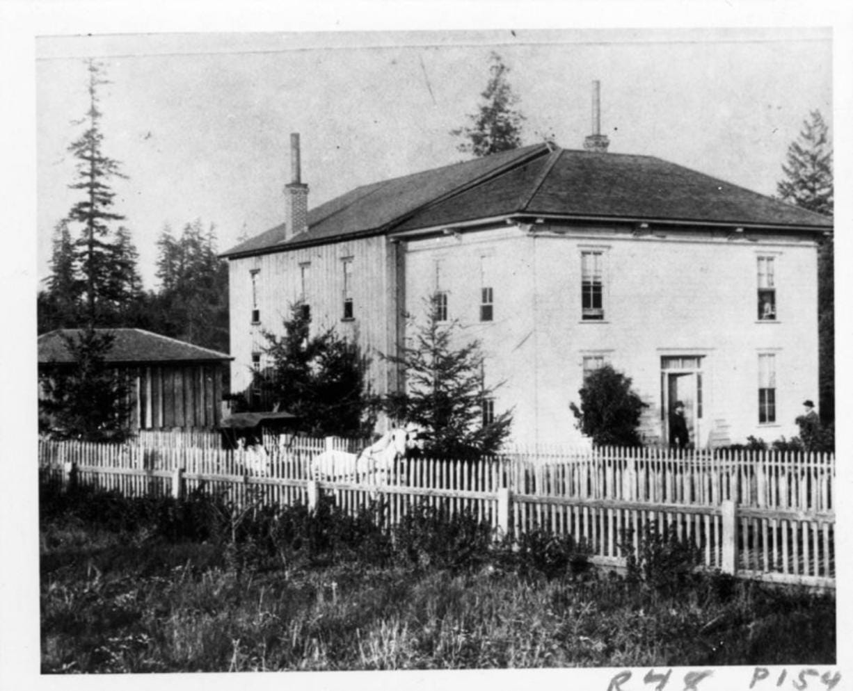 This 1892 photo may be of the first building for the Washington School for Defective Youth and matches the description as part farmhouse in reports. By 1892, the Legislature funded a second, more suitable brick building. Despite its odious name, concerns for the disabled reach back into Washington's territorial days. Several early attempts failed. Then in 1886, the territorial legislature approved funding for a state school to educate the disabled and located it in Vancouver. The photo places the school at Fourth Plain (then a general locality, not a street) and Burnt Bridge Creek.
