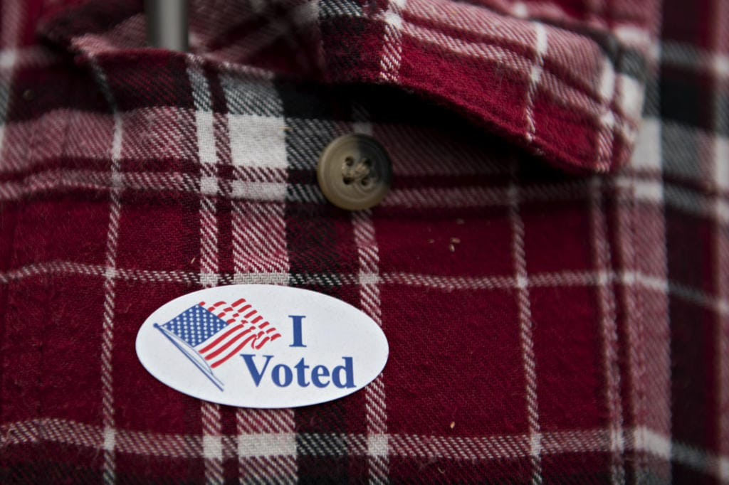 Voters were given stickers after filling out their ballots at the Clark County Elections Office on Tuesday afternoon, Nov. 3, 2020.