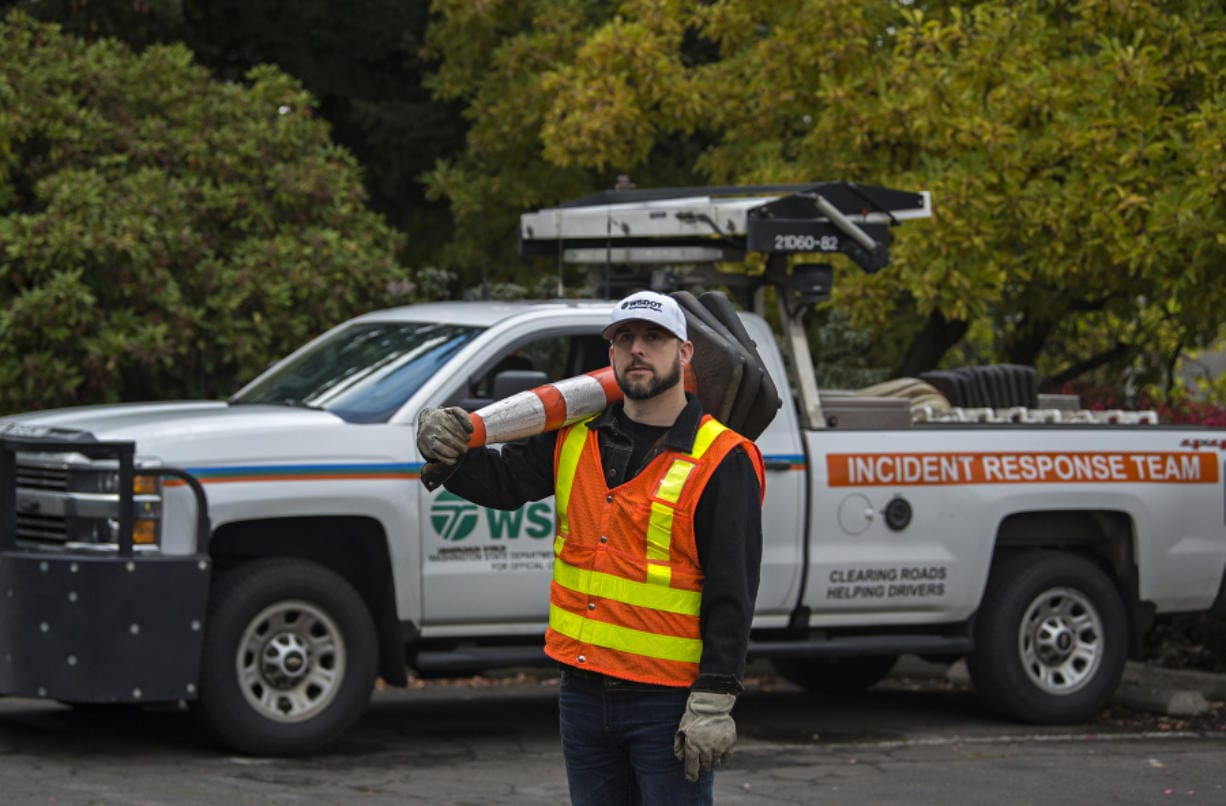 """State Department of Transportation Incident Response worker Glen Wohlsein, 45, has worked for the agency for 20 years. He graduated from Mountain View High School in 1993. """"It's been a fun ride so far,"""" he said."""
