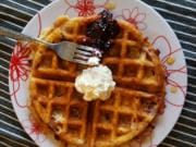 Swirl your favorite flavor of jam right into the waffle mix and top with an extra dollop of jam.