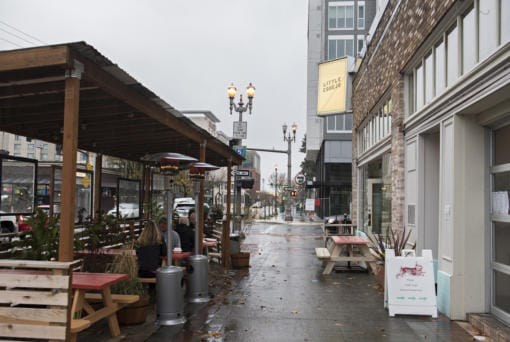 Customers stay and warm in the outdoor dining area of Little Conejo in downtown Vancouver on Wednesday afternoon, Nov. 18, 2020. (Amanda Cowan/The Columbian)