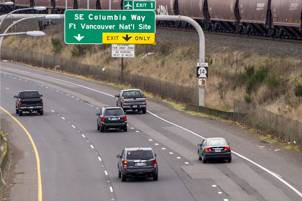 Cars merge onto Highway 14 on Tuesday, November 24, 2020.
