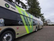 A 60-foot Vine bus pictured at the C-Tran maintenance center in Vancouver. C-Tran's first bus rapid transit line debuted on Fourth Plain Boulevard in 2017, and construction is slated to start next year on a second line along Mill Plain Boulevard.