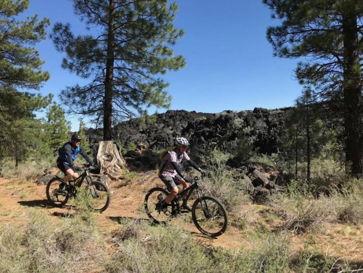 The Black Rock Trail leads mountain bikers alongside a vast lava rock field.