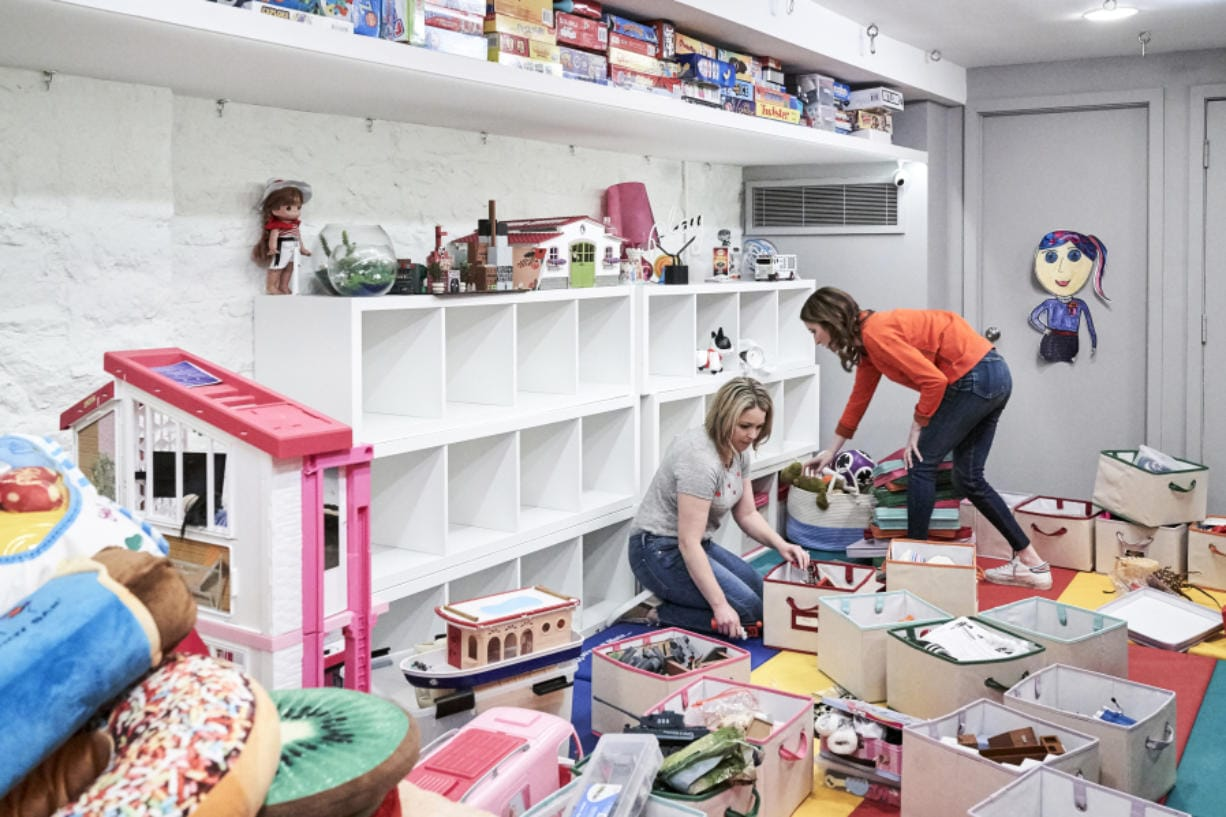 """Clea Shearer, right, and Joanna Teplin tackle and unruly play room in """"Getting Organized with the Home Edit"""" on Netflix."""