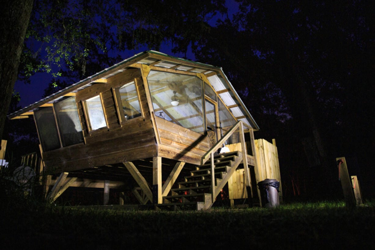 The Birdhouse is an open-air lodging option at the Suwannee Cabin Sanctuary on Monday, Aug. 17, 2020.