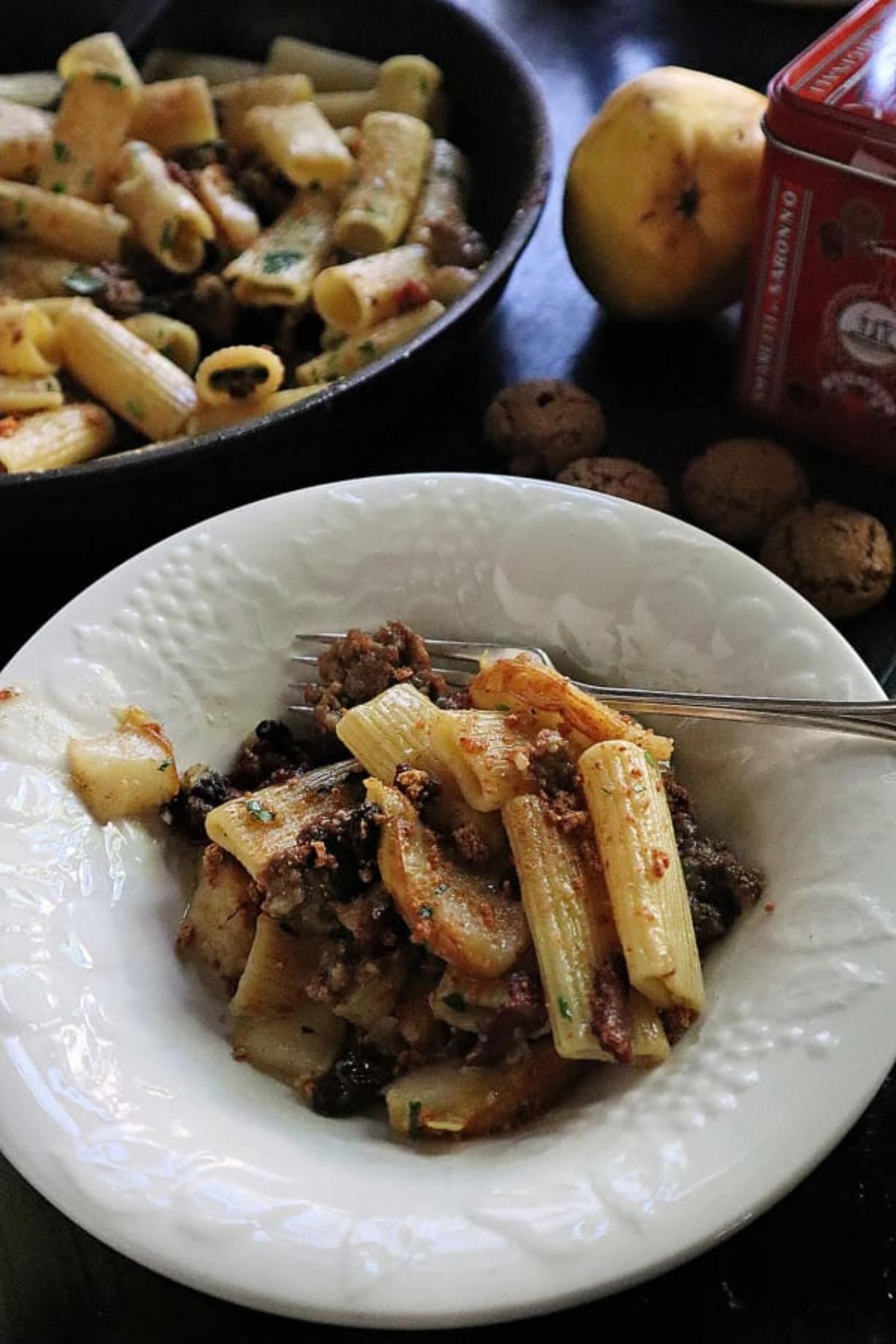 """Bacon, sausage and fresh pear team up for an """"open ravioli"""" dish that's perfect for fall."""