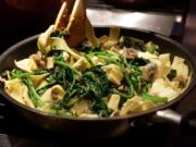 Papparedelle with Broccoli Rabe and Mushrooms, a pasta recipe without red sauce, photographed Wednesday, Oct. 21, 2020. (Hillary Levin/St. Louis Post-Dispatch/TNS) (Photos by Hillary Levin/St.
