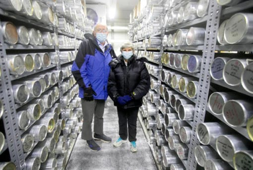Lonnie Thompson, left, and Ellen Mosley-Thompson, paleoclimatologists in their ice core freezer at the Byrd Polar Climate and Research Center at Ohio State University.