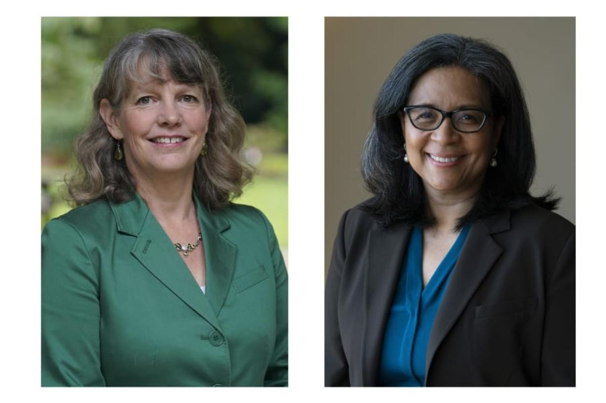 FILE - This combination of Sept. 25, 2020, photos shows State Rep. Beth Doglio, left, and former Tacoma Mayor Marilyn Strickland in Wash. Both women are Democrats and are facing each other in the election for the next representative of Washington's 10th congressional district. (AP Photo/Ted S.