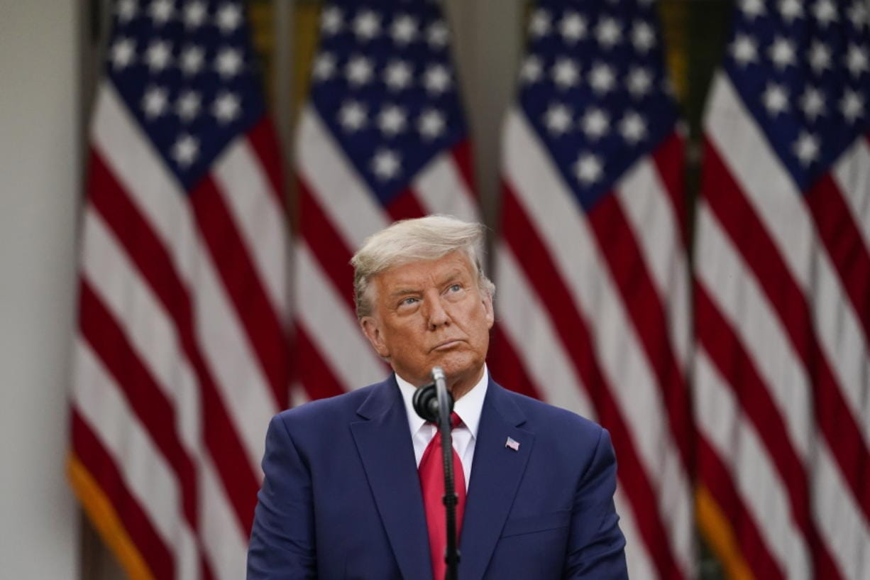FILE - In this Nov. 13, 2020, file photo President Donald Trump speaks in the Rose Garden of the White House in Washington.