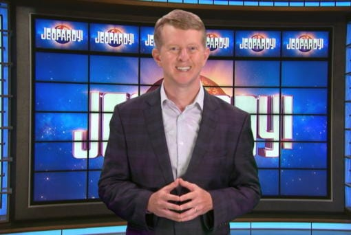 This image released by JEOPARDY! shows Ken Jennings, a 74-time champion the the set of the popular quiz show. Jennings will be the first interim guest for the late Alex Trebek, and the show will try other guest hosts before naming a permanent replacement. (JEOPARDY!