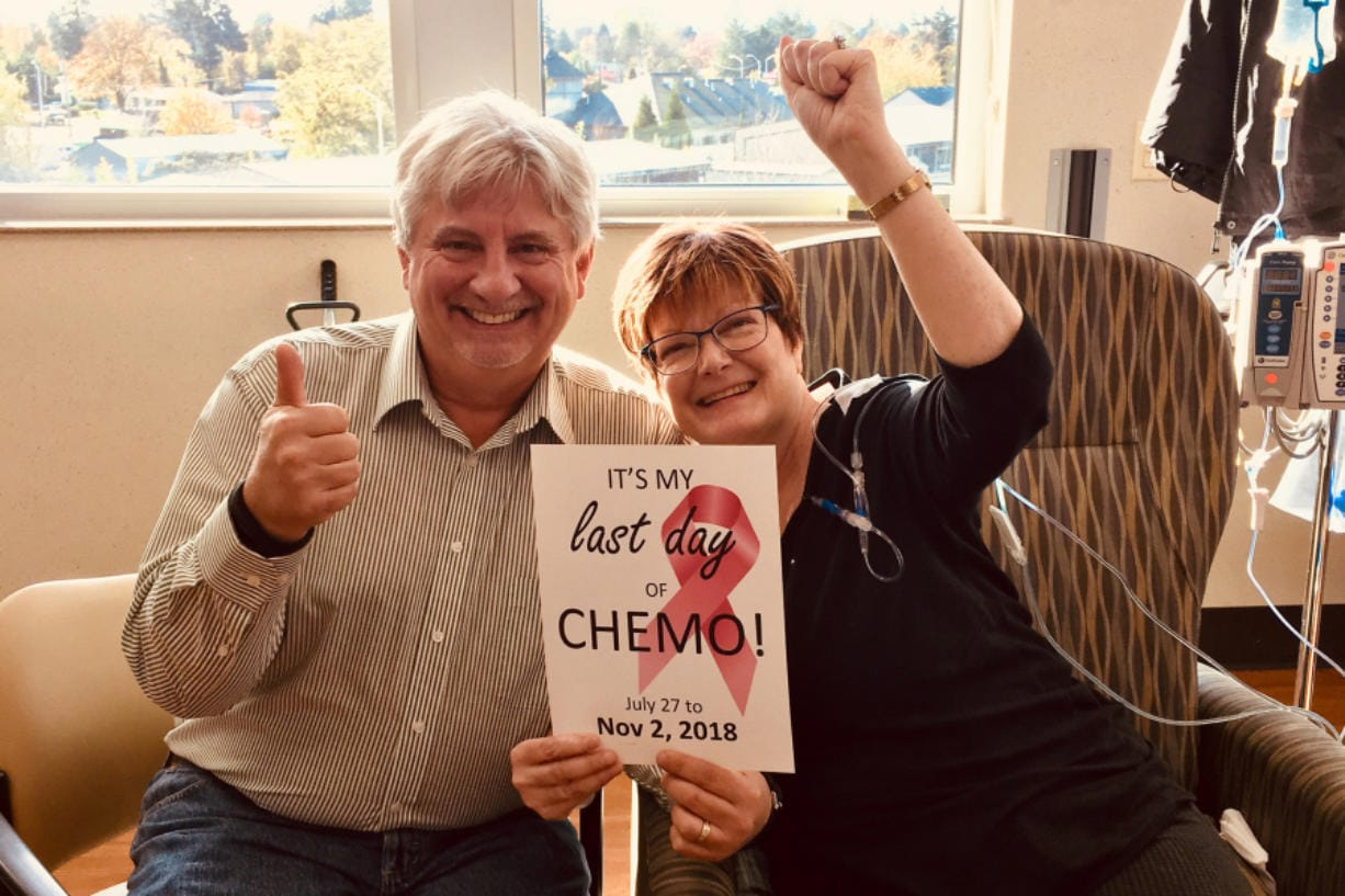 Breast cancer survivor Linda Green poses with her husband, Chuck Green, in November 2018 during her last day of chemotherapy. Green's aggressive cancer was detected early. There has been a drop in mammogram screenings at Legacy Salmon Creek Medical Center because of the pandemic.