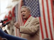 FILE - In this Monday, Jan. 2, 1990, file photo, David Dinkins delivers his first speech as mayor of New York, in New York. Dinkins, New York City's first African-American mayor, died Monday, Nov. 23, 2020. He was 93.
