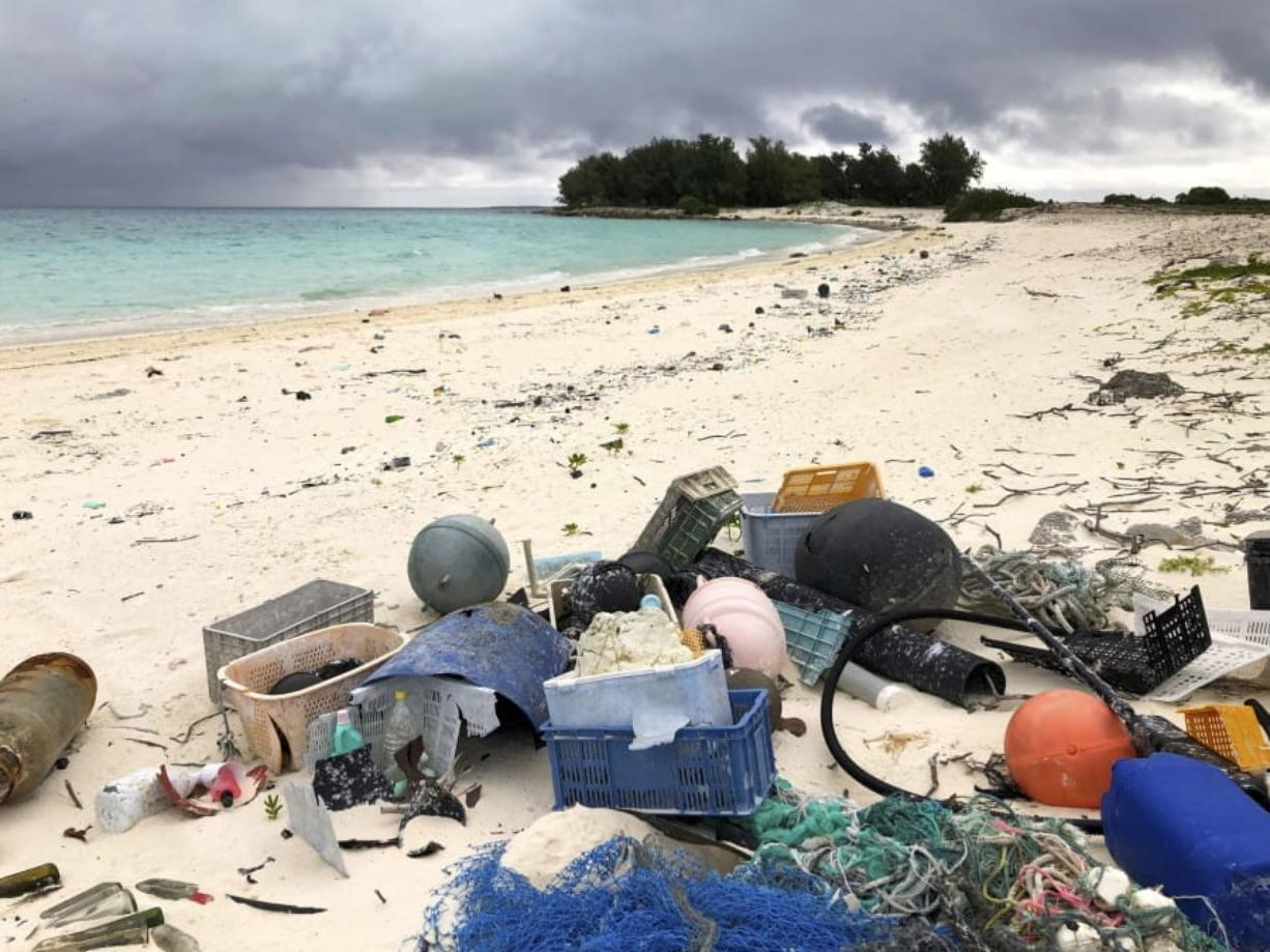 Plastic and other debris sits on the beach Oct. 22, 2019, on Midway Atoll in the Northwestern Hawaiian Islands.