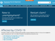 The homepage of the Washington State Employment Security Department.