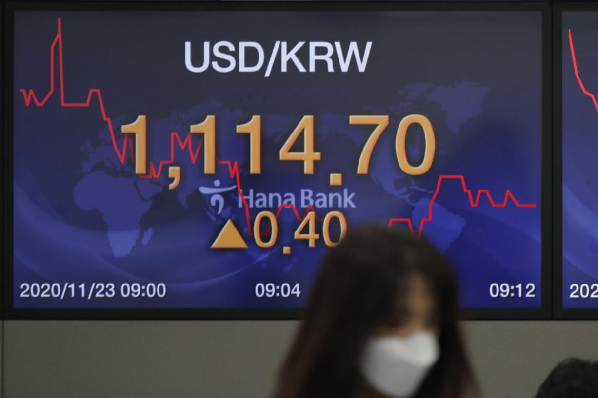 A currency trader walks by a screen showing the foreign exchange rate between U.S. dollar and South Korean won at the foreign exchange dealing room in Seoul, South Korea, Monday, Nov. 23, 2020. Asian stocks rose Monday as investors looked ahead to quarterly U.S. economic data and updates on anti-coronavirus curbs on business amid wrangling over the American presidential election.