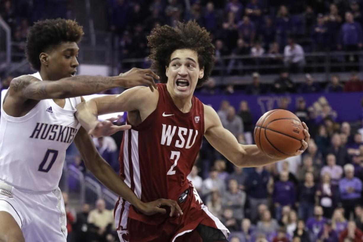 Washington State's CJ Elleby (2) was the 46th pick in the NBA draft on Wednesday night, Nov. 19, 2020, selected by the Trail Blazers. He became the first Washington State player drafted since Klay Thompson in 2011.