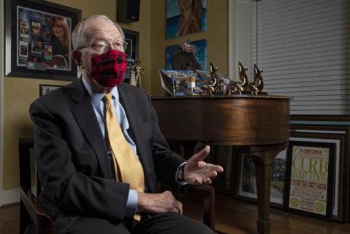 Sen. Lamar Alexander, R-Tenn., speaks from behind a face mask during an interview Friday, Nov. 20, 2020, in Nashville, Tenn.