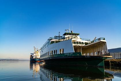 A ferry docked at the Port of Olympia was bought in auction by Bart Lematta of Vancouver.