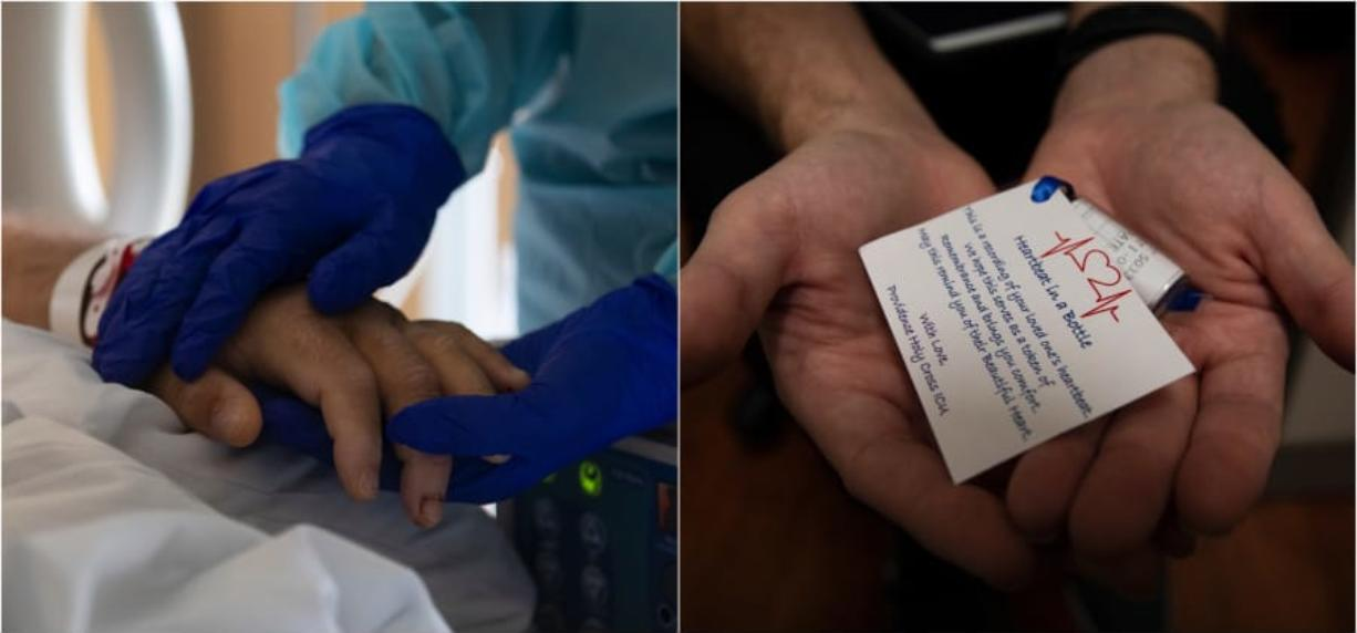 Left: Michael Harris, 19, rests his gloved hands on his fatherCfUs arm. He will barely move for the next half-hour or so. Right: Chaplain Kevin Deegan holds a tube containing the paper image of Bob HarrisCfU heartbeat.