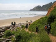Surfers and beachgoers take a path to Short Sand Beach at Oswald West State Park.