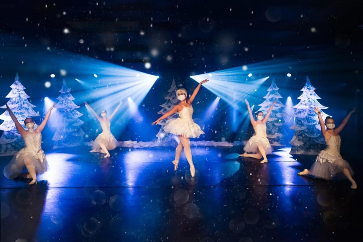 """Samantha Cruz as the Snow Queen, surrounded by snow dancers Izzy Goff, Scarlett Reeder, Ellee Nicols and Grace Bartley, in Riverside Performing Arts' video, """"A Tale of the Nutcracker."""" (Julie G Photography)"""