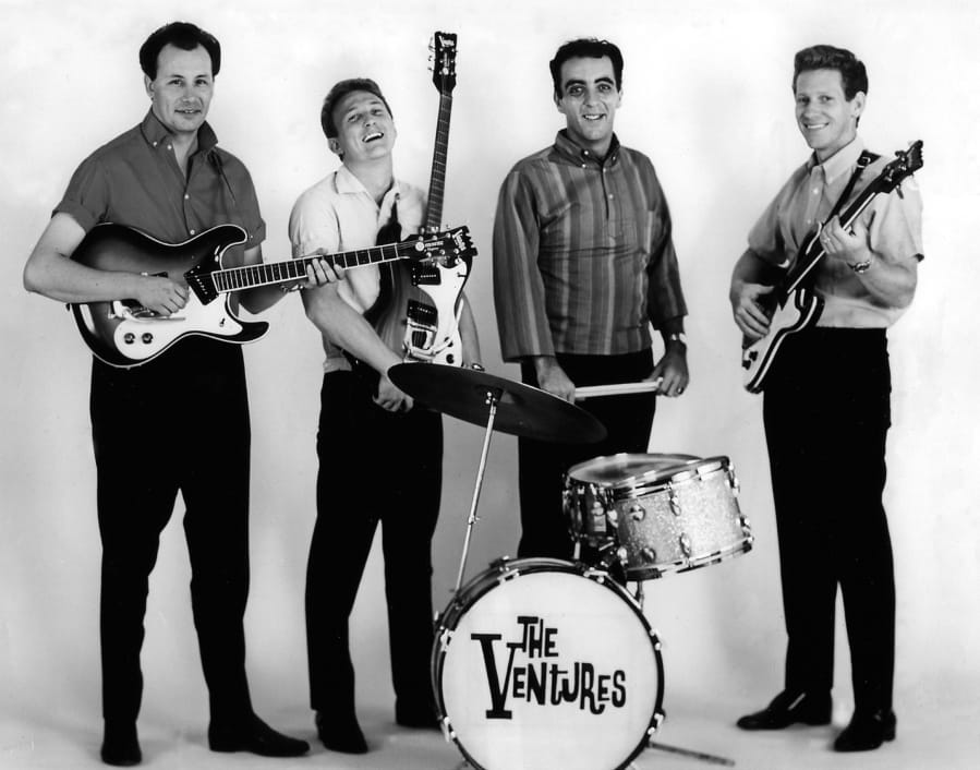 The classic Ventures, featuring Nokie Edwards (left), Don Wilson, Mel Taylor and Bob Bogle, who moved to Vancouver in 1986.
