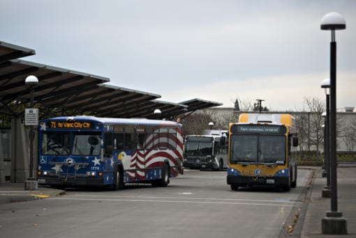 Buses make their way into the C-Tran 99th Street Station while preparing to unload passengers on Thursday morning.