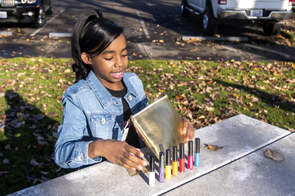 Amira Ashley, 10, talks about her lip gloss brand Boujee Vegan Girl. Amira sells the lip glosses for $10 per tube.