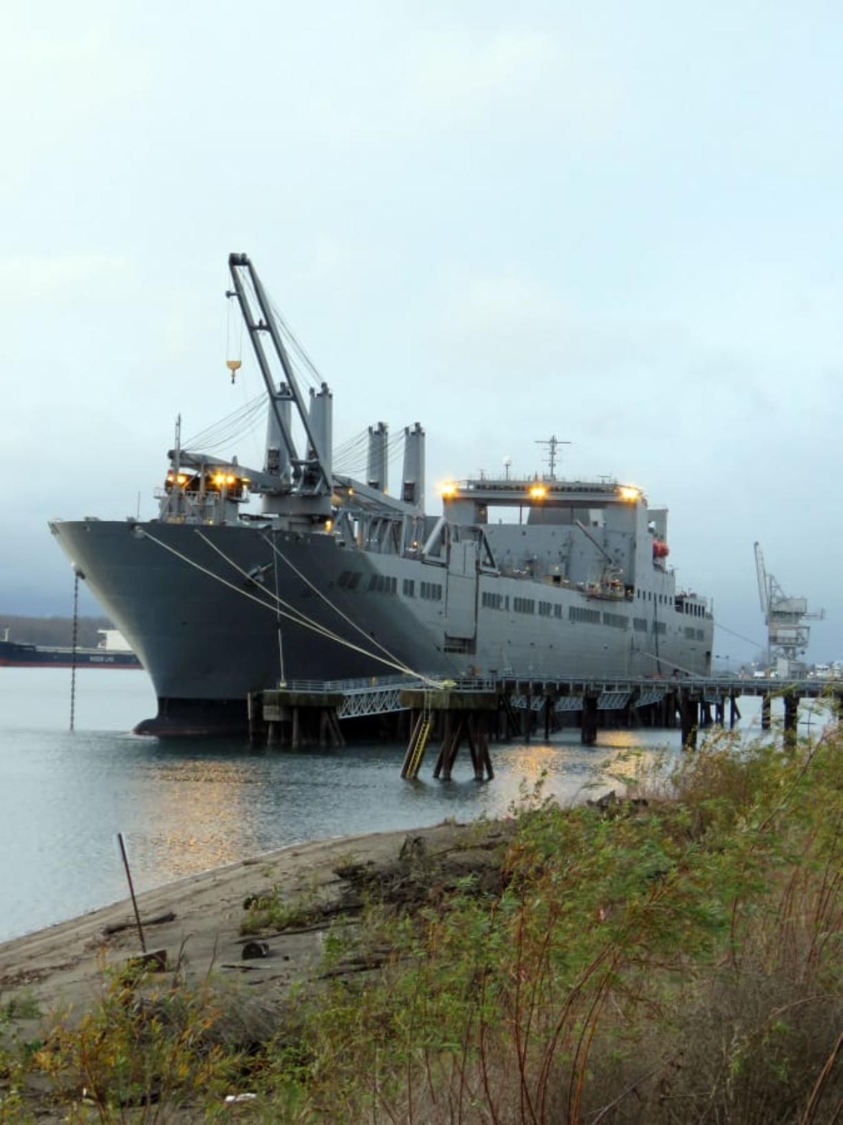 FRUIT VALLEY: The USNS Fisher, a 951-foot-long Military Sealife Command vessel, arrived at the Port of Vancouver on Dec.