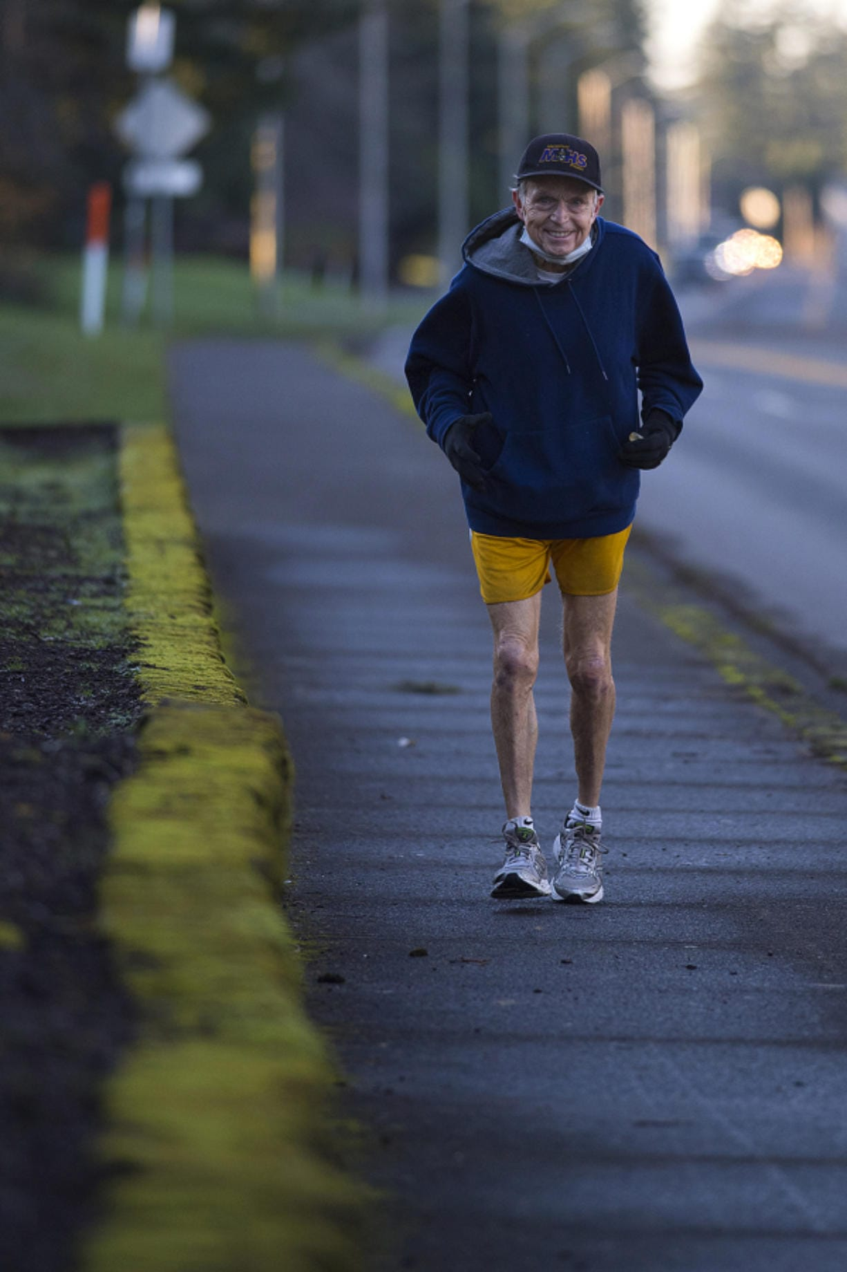 Jerry Kotsovos of Camas, pictured on his daily run Wednesday afternoon, December 23, 2020, has been running for 46 years. Now at the age of 74, he will reach a milestone of running his 130,000th mile on Christmas Day.