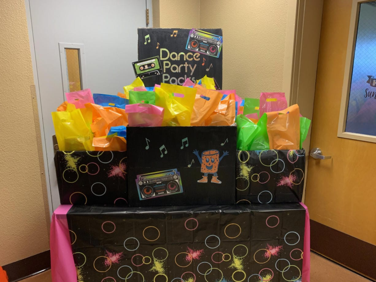 RIDGEFIELD: The Union Ridge Elementary School PTO made a display so parents could drive through to pick up goody bags before a virtual dance.