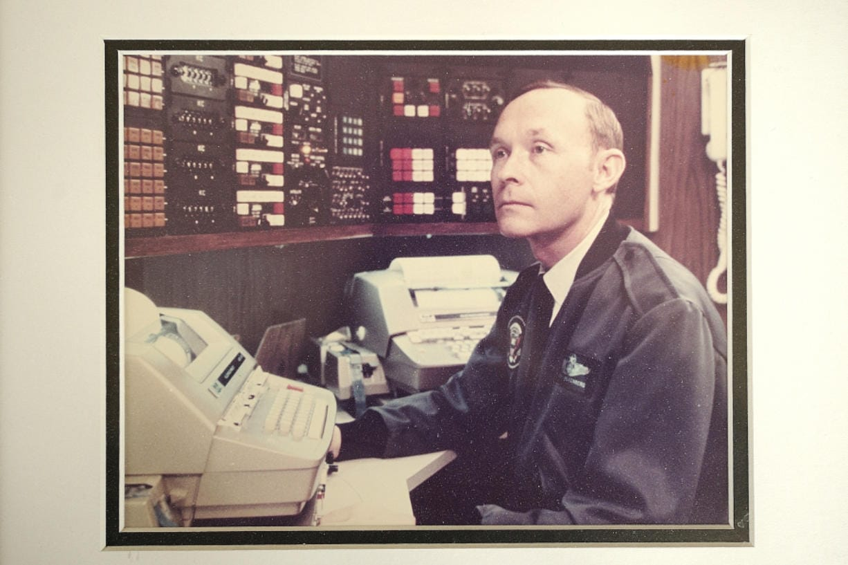 """E.E. """"Van"""" Valkenberg kept this photo of himself aboard Air Force One."""
