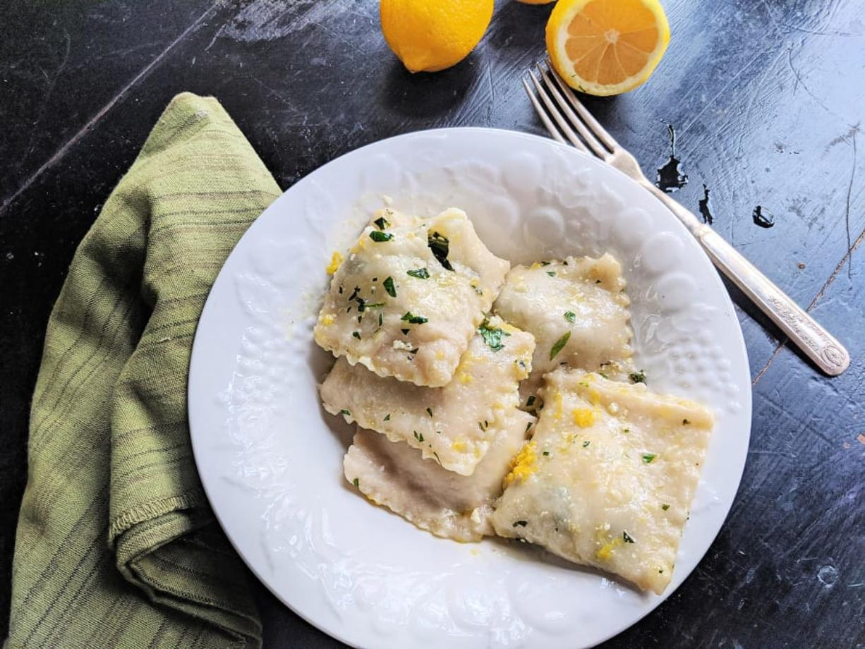 Homemade cheese and spinach ravioli in a lemon butter sauce comes together quickly.