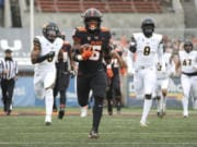 Oregon State running back Jermar Jefferson was selected as the Pac-12 offensive player of the year along with Colorado running back Jarek Broussard.