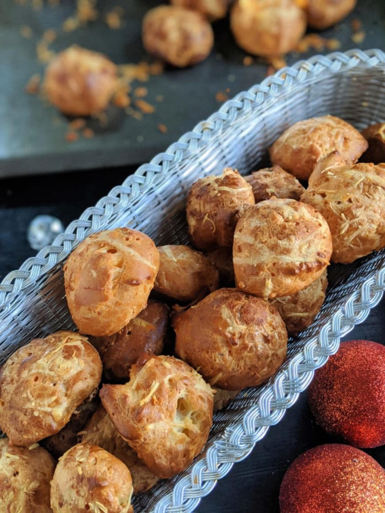 Light and airy, cheese gougeres are easy to make, and pair wonderfully with Champagne on New Year's Eve.