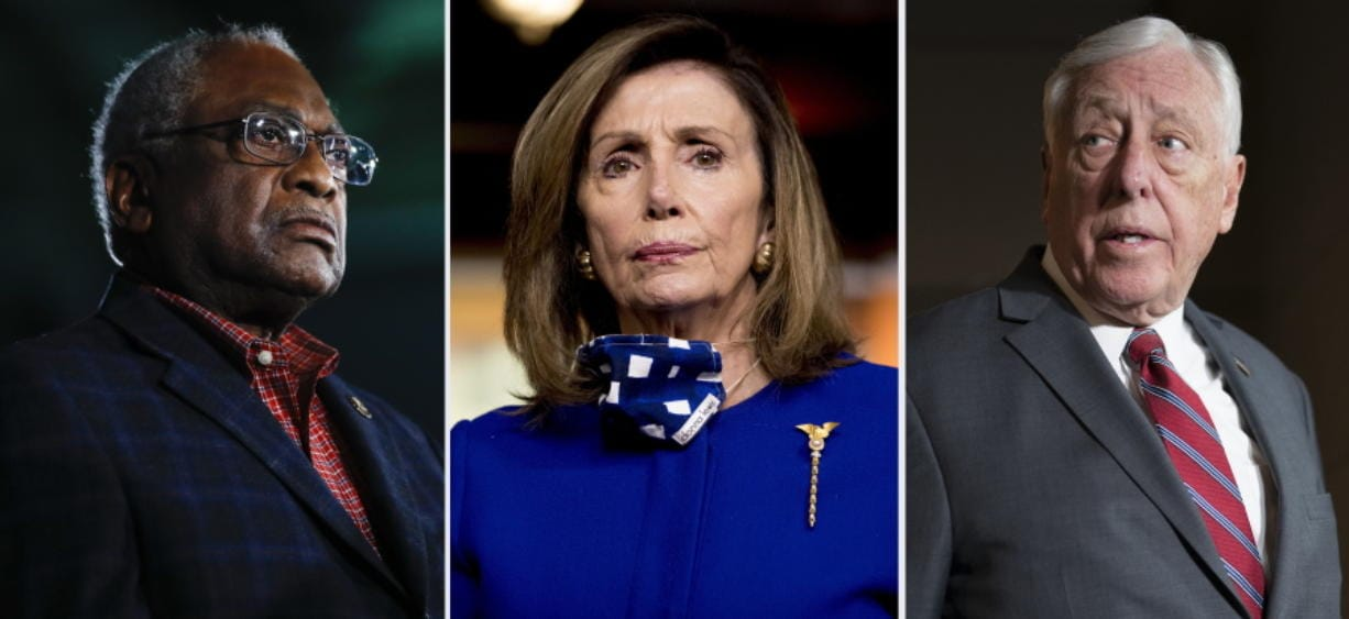 This combination of file photos shows from left, Rep. James Clyburn, D-S.C. on Feb. 29, 2020, in Columbia, S.C., House Speaker Nancy Pelosi of Calif., on July 24, 2020, in Washington and House Majority Leader Steny Hoyer, D-Md., on March 3, 2020, in Washington. Hoyer and No. 3 party leader Clyburn, Congress' highest ranking Black member, were reelected to their positions, like Pelosi without opposition on Wednesday, Nov. 18, 2020.