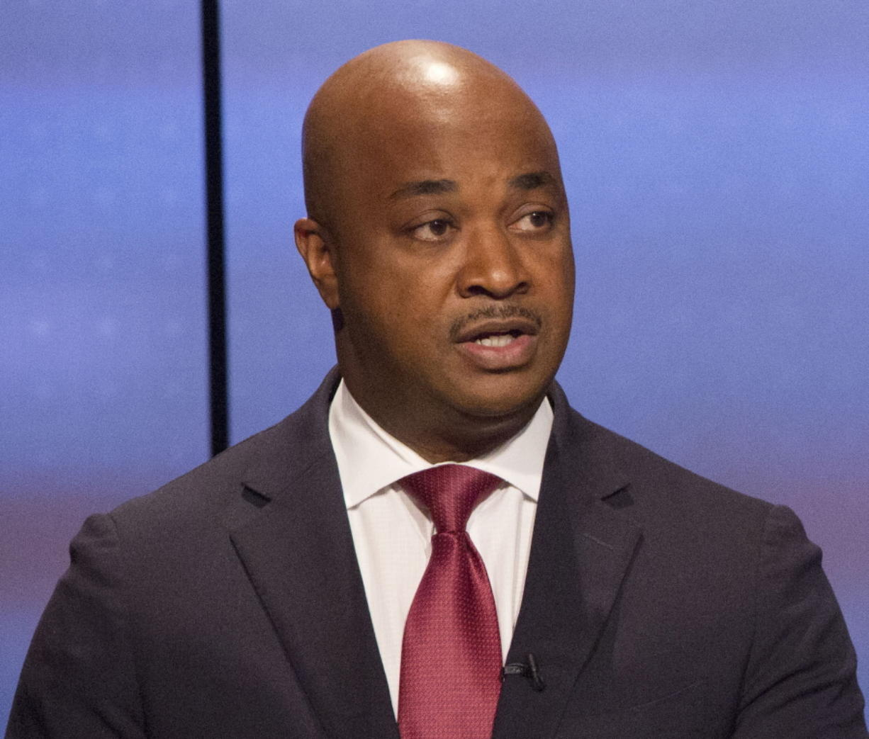 In this Sunday, Oct. 22, 2017 photo, Kwanza Hall  answers a question during the Atlanta Police Foundation's Atlanta Mayoral debate hosted by WSB-TV at their studios in Atlanta.. Crime and safety were the main topic of discussion during live debate.