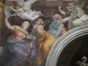 """A detail of the 1514 fresco """"Sybils receiving instruction from Angels"""" by Italian High Renaissance master painter Raffaello Sanzio, known as Raphael, adorns the inside of Santa Maria della Pace church, in Rome, Monday, Dec. 14, 2020. Like elsewhere in Europe, museums and art galleries in Italy were closed this fall to contain the spread of COVID-19, meaning art lovers must rely on virtual tours to catch a glimpse of the treasures held by famous institutions such as the Uffizi in Florence and the Vatican Museums in Rome. However, some exquisite gems of Italy's cultural heritage remain on display in real life inside the country's churches, some of which have collections of renaissance art and iconography that would be the envy of any museum."""