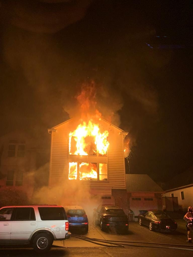 Fire tears through a house in the 14200 block of Northwest 29th Avenue in Salmon Creek early Thursday morning.
