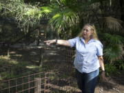 FILE - In this July 20, 2017, file photo, Carole Baskin, founder of Big Cat Rescue, walks the property near Tampa, Fla. Officials said, a female volunteer who regularly feeds big cats was bitten and seriously injured by a tiger Thursday morning, Dec.