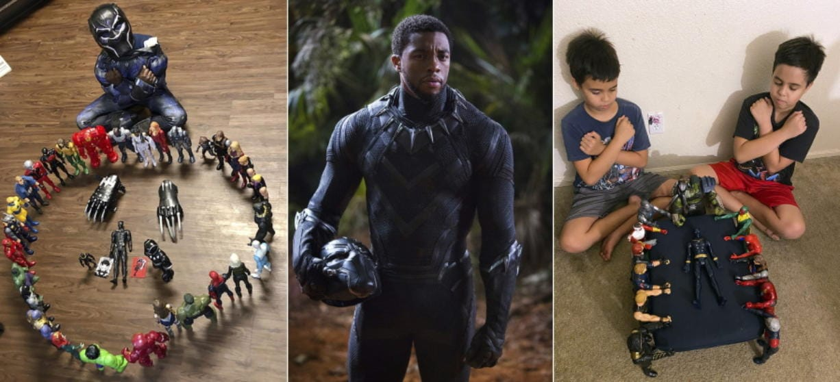 """This combination photo shows, from left, Gavyn Batiste, 7, dressed as Black Panther and surrounded by action figures in Lafayette, La. on Aug. 31, 2020, actor Chadwick Boseman in character as T'Challa in """"Black Panther"""" and 10-year old twins Lenny, left, and Bobby Homes paying tribute to Boseman at their home in in Mesa, Ariz. on Aug. 31, 2020. Boseman died of colon cancer on Aug. 28 at age 43, an illness he kept secret from almost everyone, making movies in between surgeries and treatments. The world mourned the actor who, like many of his characters, radiated a regal sense of dignity."""